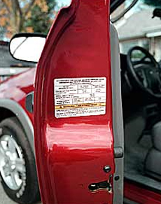 Most vehicles list tire pressure requirements on one of the door posts, most often the driver's.